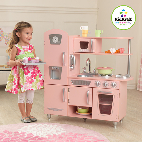 cocina de juguete vintage de madera color rosa kidkraft. Black Bedroom Furniture Sets. Home Design Ideas