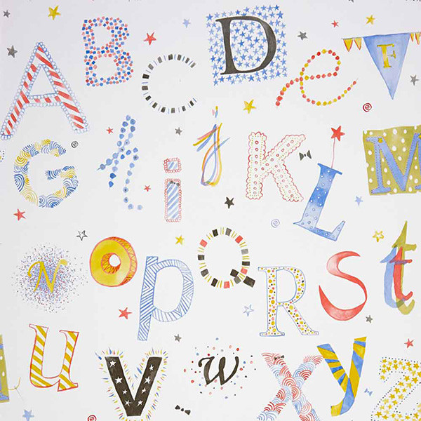 Papel pintado infantil Summer Camp Letras de colores 2