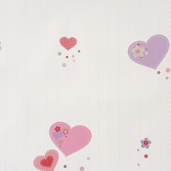 Papel pintado infantil Patchwork corazones Girls Only
