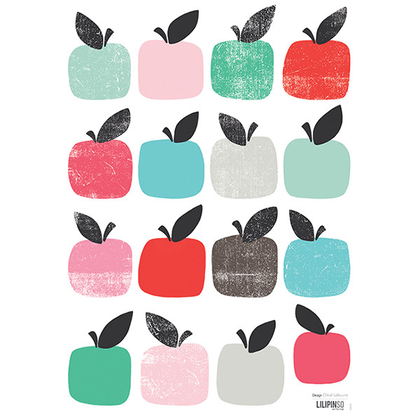 Pegatinas pared infantil Manzanas de colores