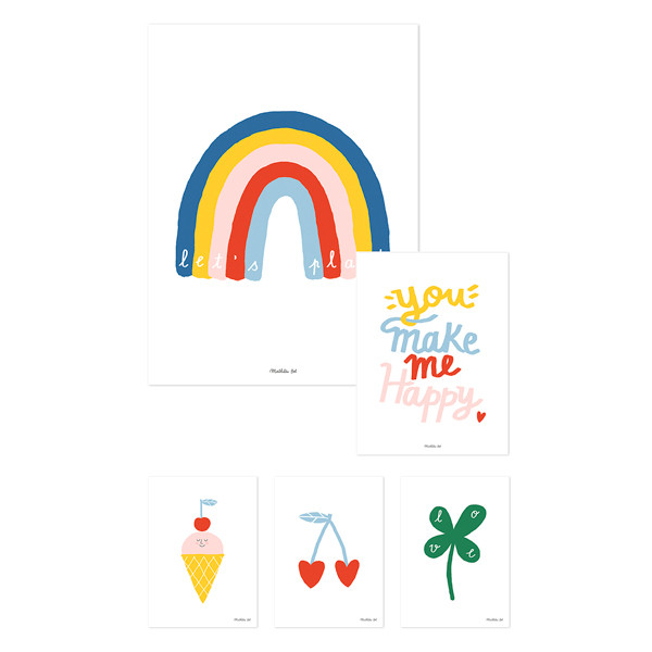 Láminas infantiles You make me happy - Pack de 5