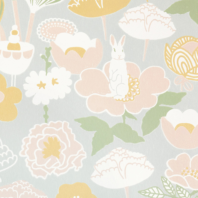 Papel pintado infantil Flores Little Light Grey