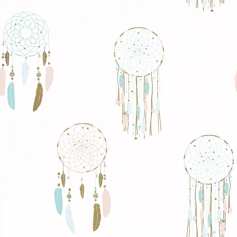 Papel pintado infantil Plumas Boho Girl Power