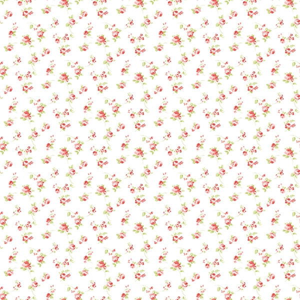 Papel pintado infantil Caselio Ashley Florecitas Coral