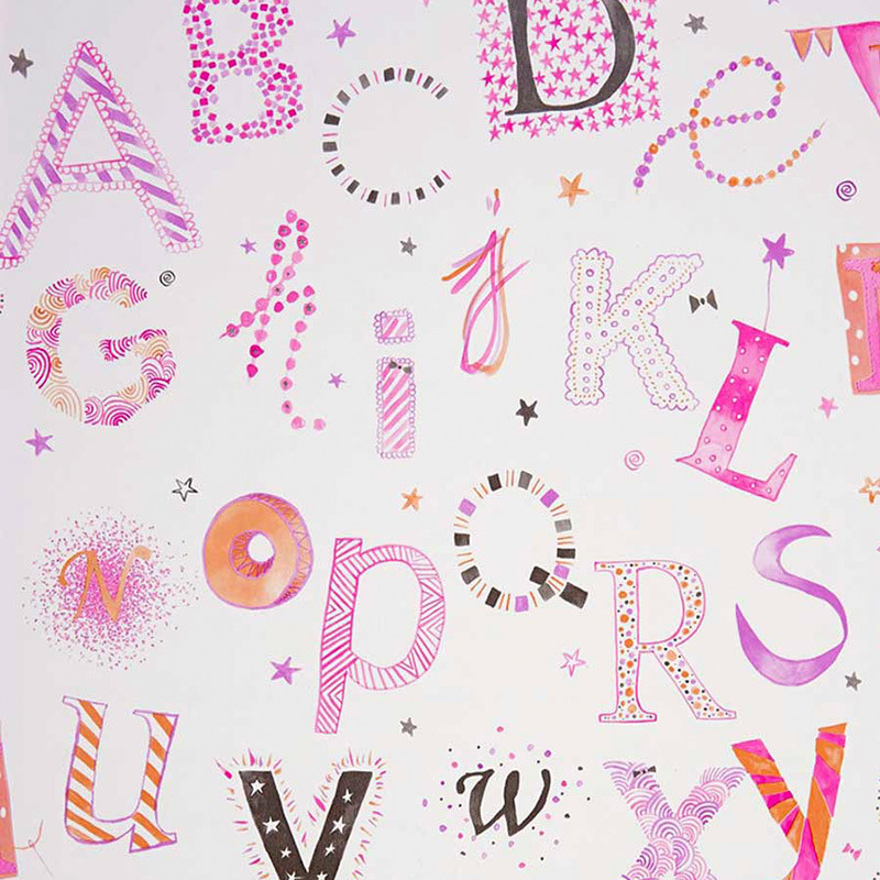 Papel pintado infantil Summer Camp Letras de colores