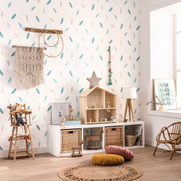 Papel pintado infantil Plumas mint Boho Girl Power