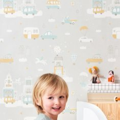 Papel pintado infantil Above Clouds gris
