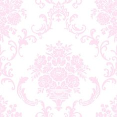 Papel pintado infantil Caselio Ashley Ornement floral rosa