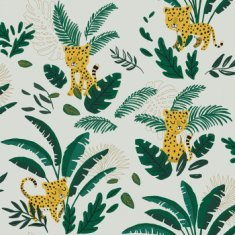 Papel pintado infantil Cheetah & Tropical Leaves
