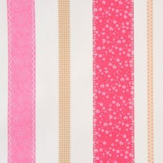 Papel pintado infantil Patchwork rayas rosa Girls only